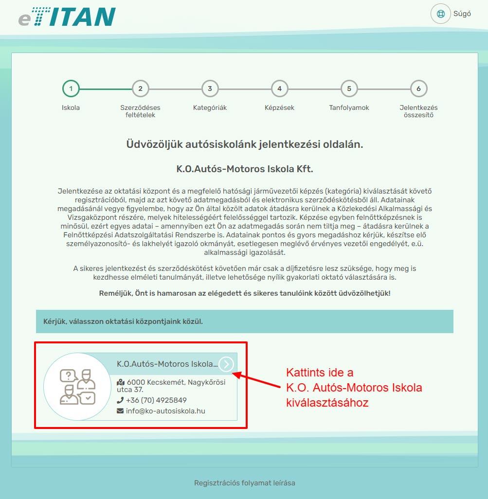 Online regisztráció - 1. lépés