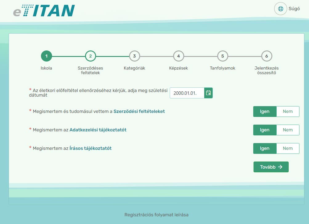 Online regisztráció - 2. lépés