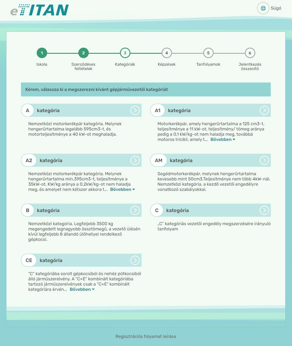 Online regisztráció - 3. lépés