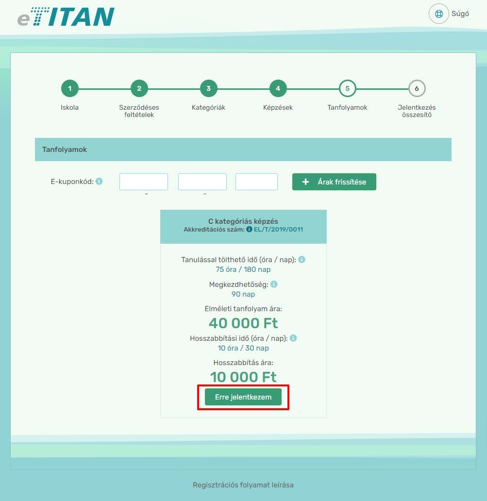Online regisztráció - 4. lépés