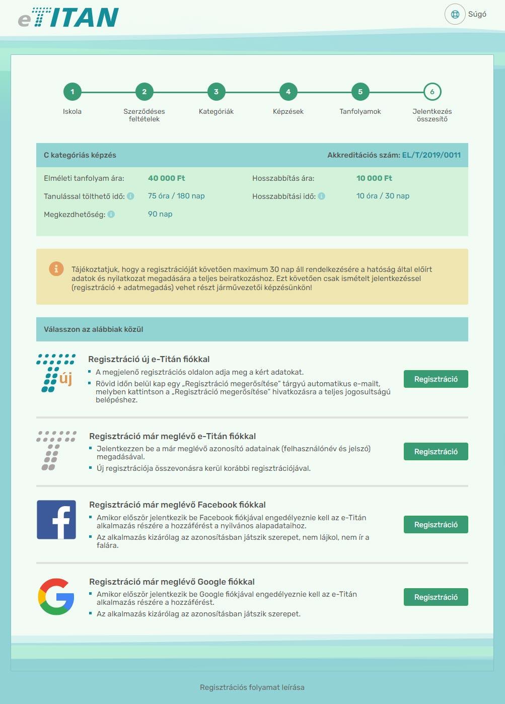 Online regisztráció - 6. lépés