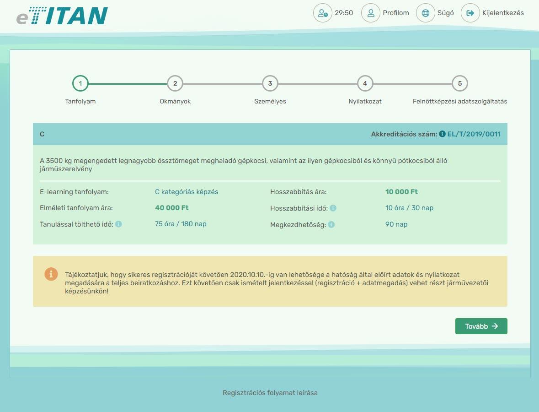 Online regisztráció - 7. lépés